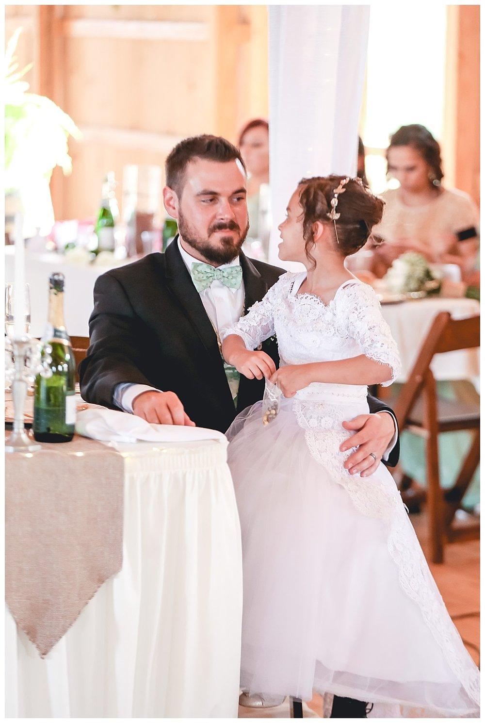 groom and flower girl