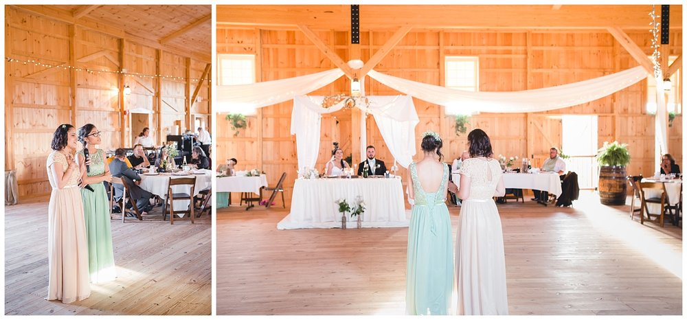 bridesmaids sing for bride and groom