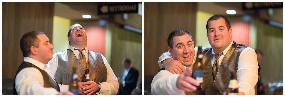 groomsmen at reception
