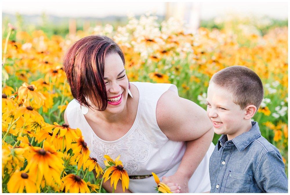 lititz pa wildflower field summer flowers mother son