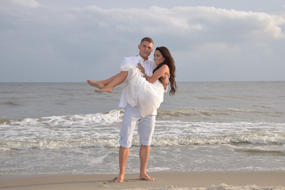 Newly married at Oak Island, NC