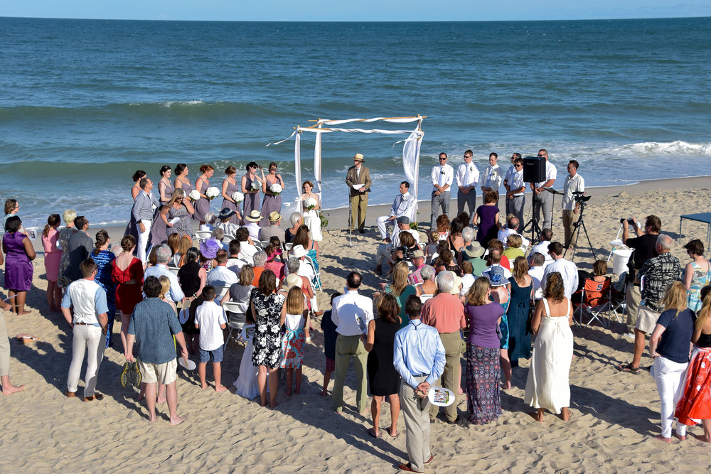 Wide Angle Shot of Beach Wedding.