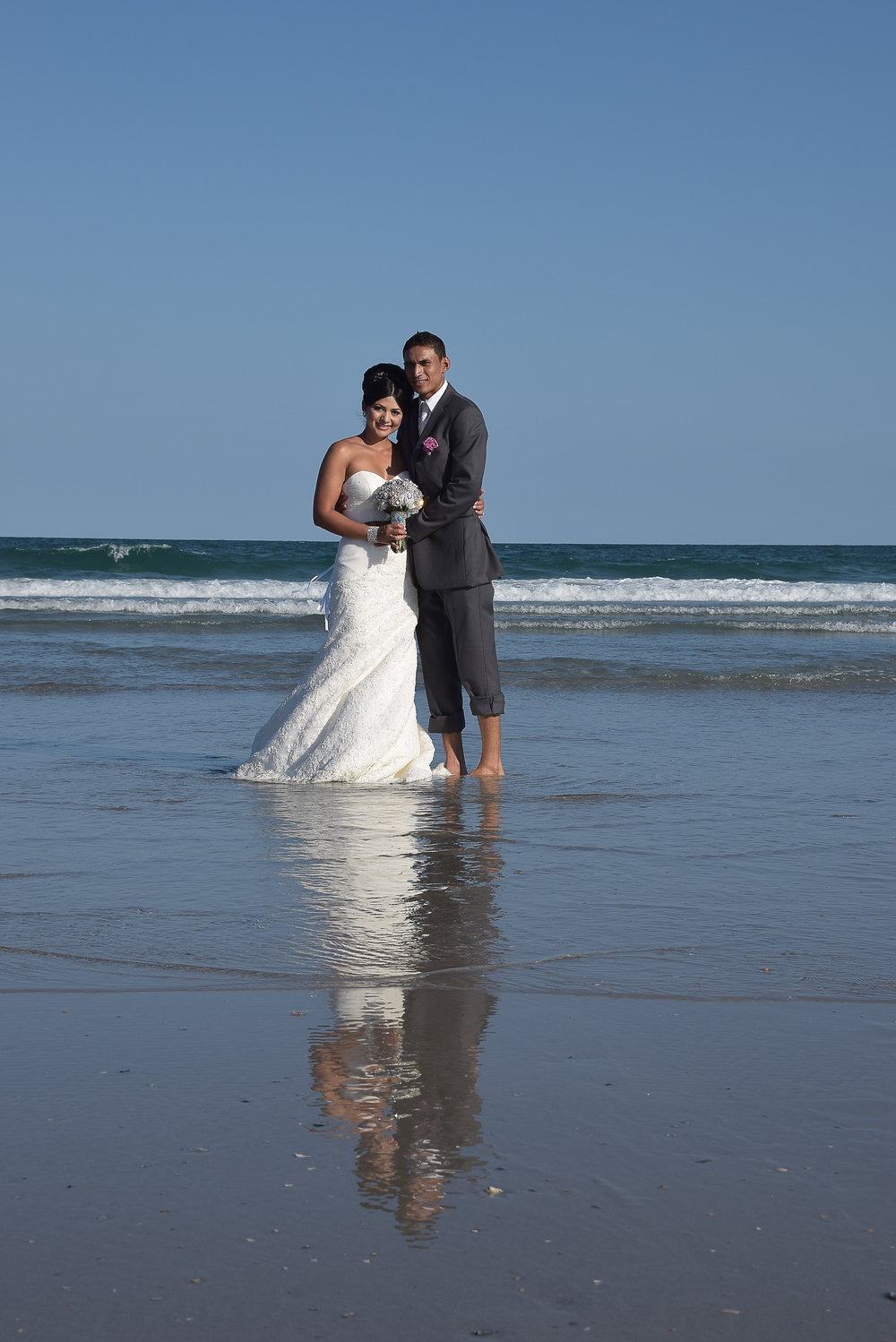 Bride and Groom at Beach.