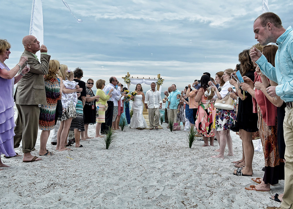 Beach Wedding Bubbles.