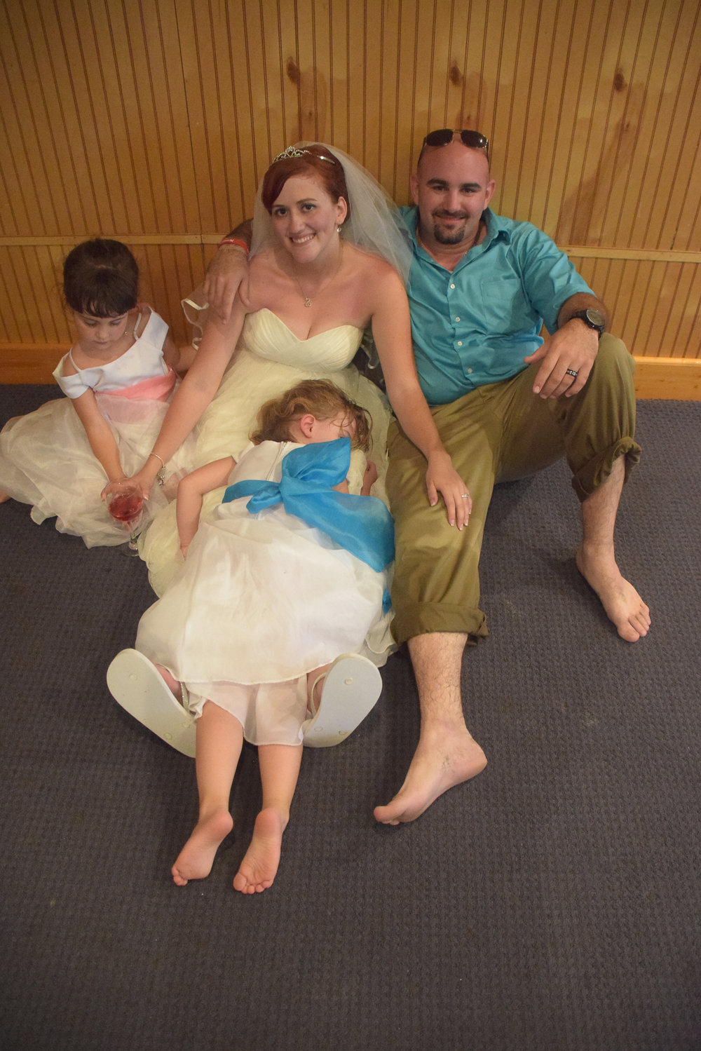 Bride and Groom with kids.