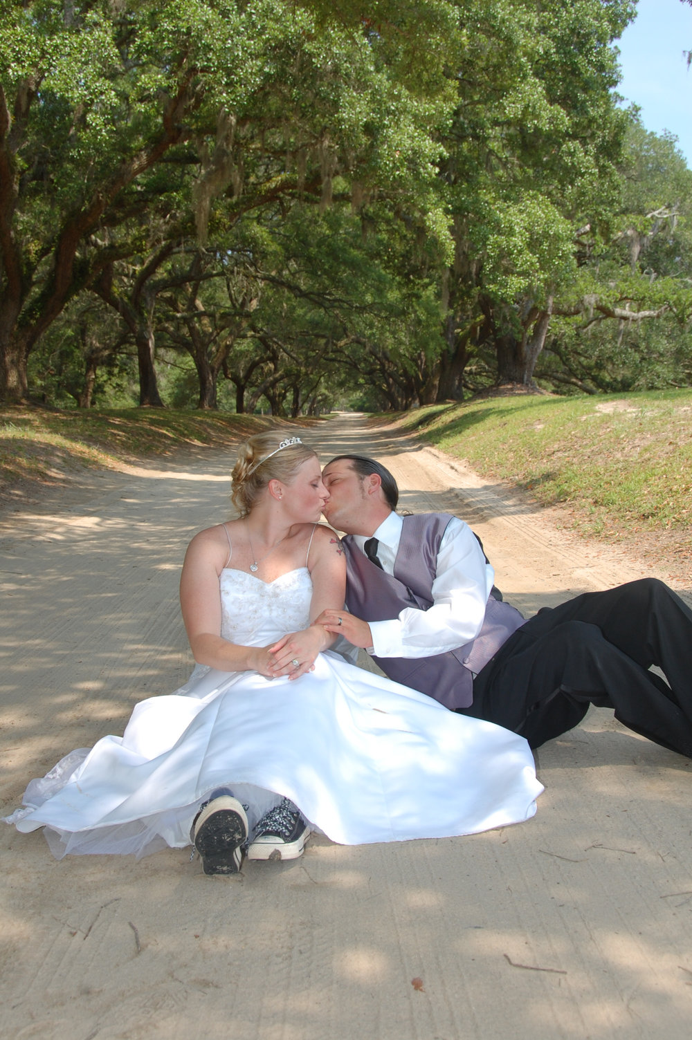 Bride and groom at Orton Plantation.
