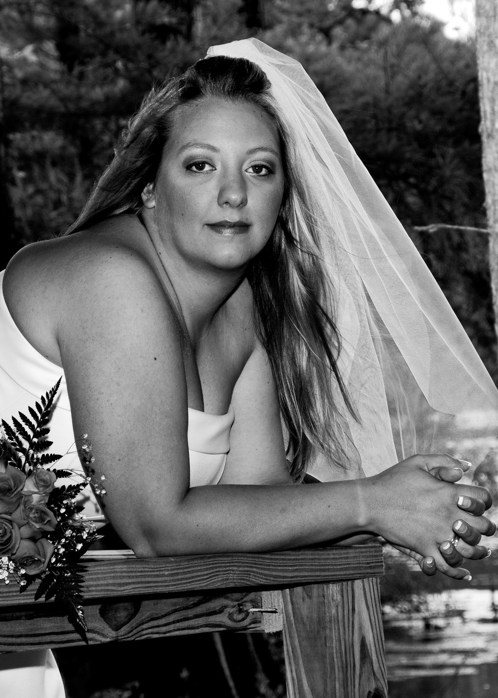 Bride in black and white.