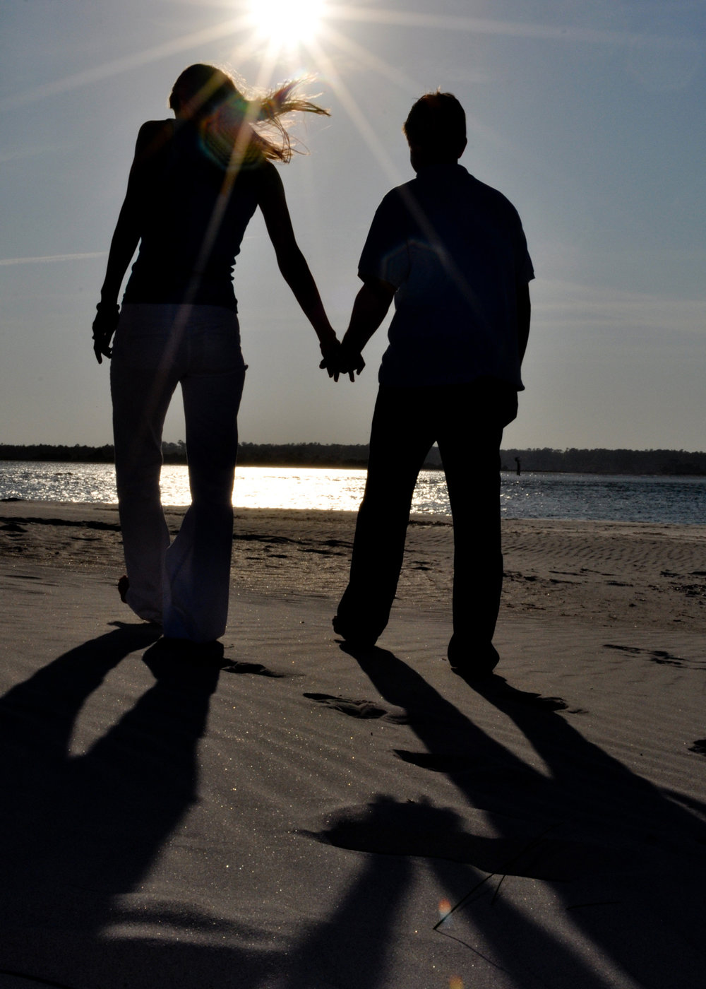 Engagement silhouette at Wrightsville Beach, NC.