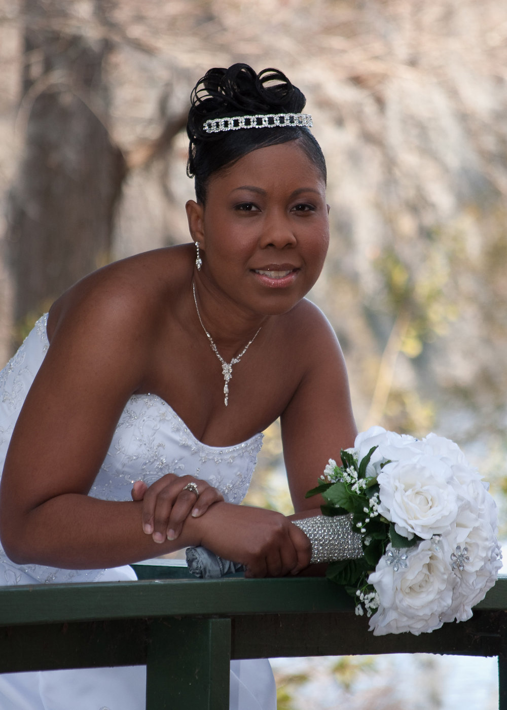 Bridal Portrait at Greenfield Lake in Wilmington, NC.