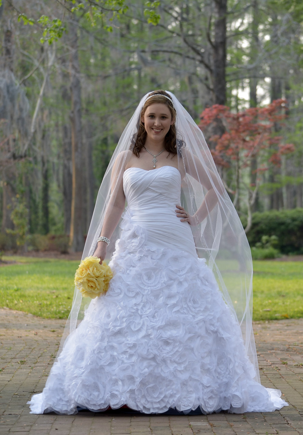 Sassy bridal portrait, Greenfield Lake in Wilmington, NC.