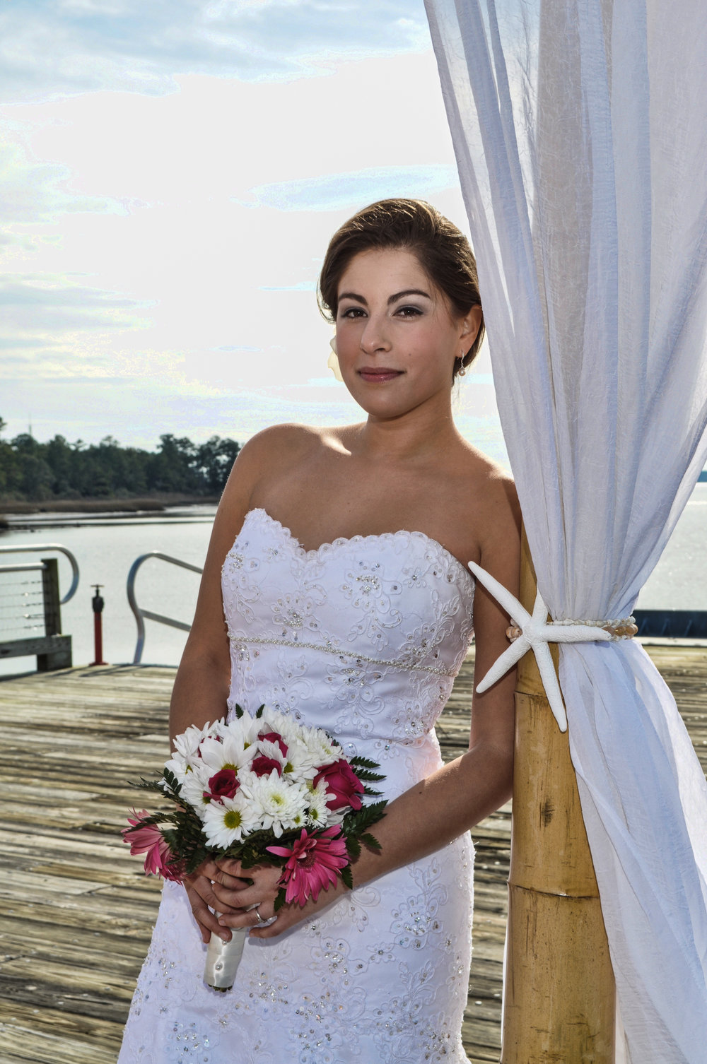 Bridal Portrait at Watermark Marina in Wilmington, NC.