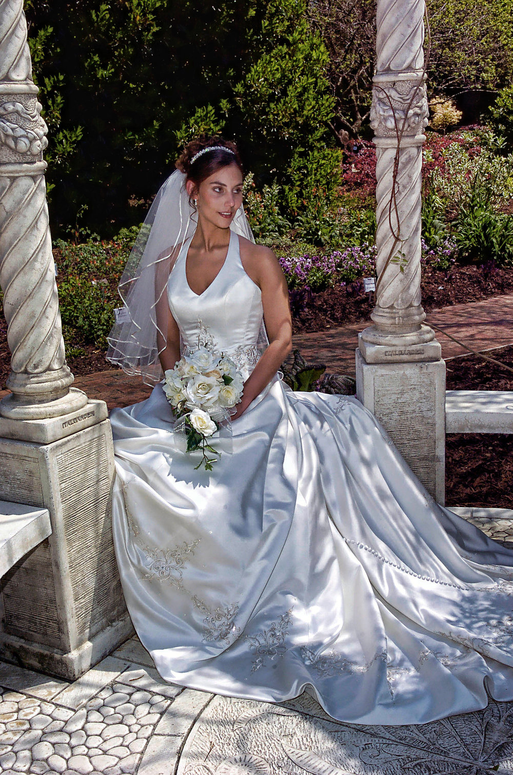 Bridal portrait at Arboretum in Wilmington, NC.