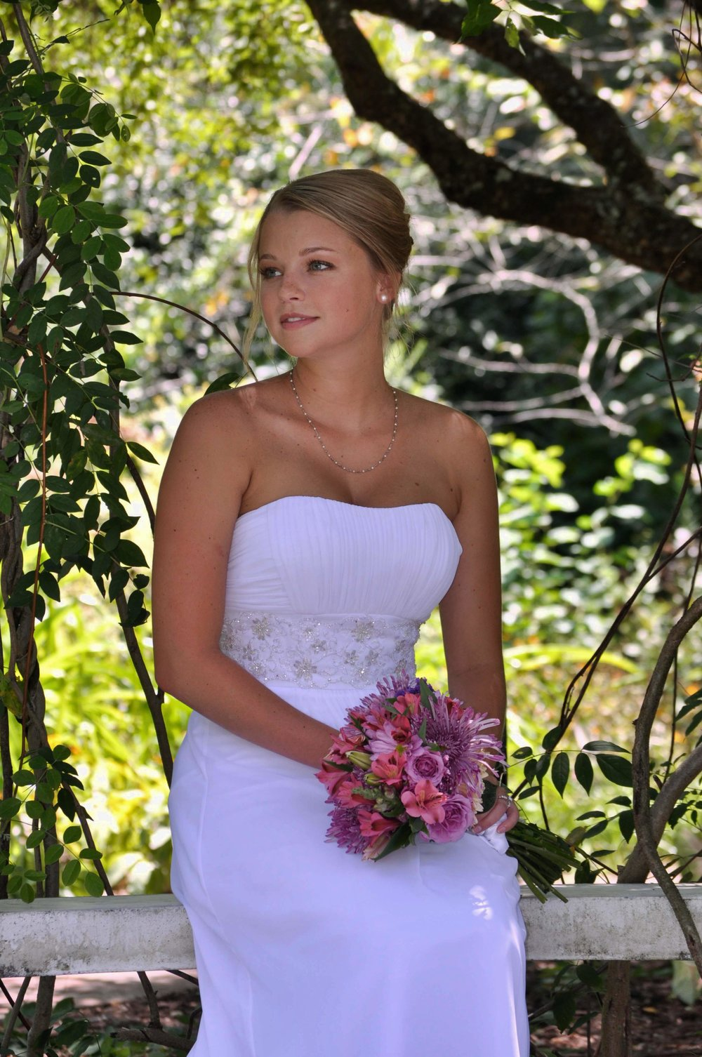 Bridal portrait, Arboretum in Wilmington, NC.