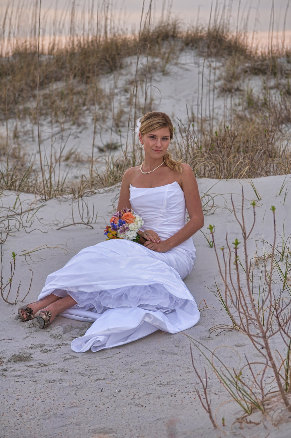 Bridal portrait at Wrightsville Beach, NC.