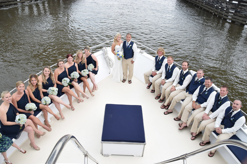Bridal Party aboard the Carolina Girl in Charleston, SC.