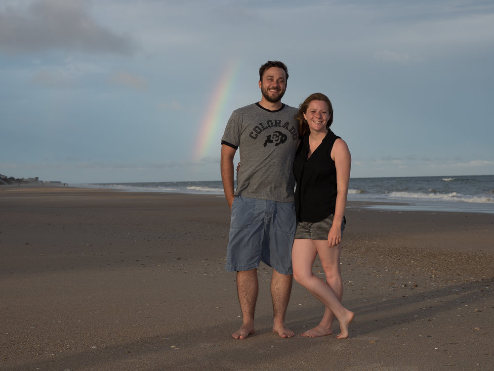 - Couple shot with rainbow at Topsail Beach, NC.