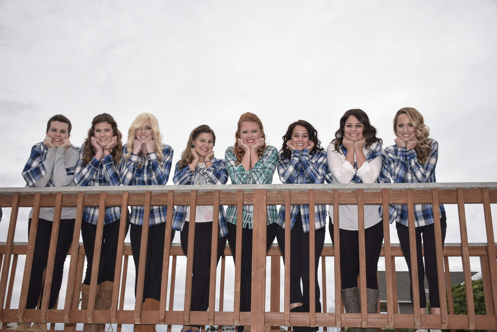 - Bride and bridesmaids posing before getting ready. Wrightsville Beach, NC.