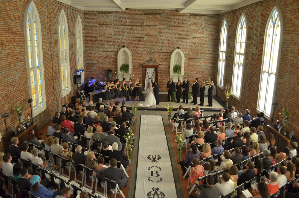 - Wedding Ceremony at Saint Thomas Preservation Hall in Wilmington, NC. Love the runner going down the aisle. Billy Beach Photography.