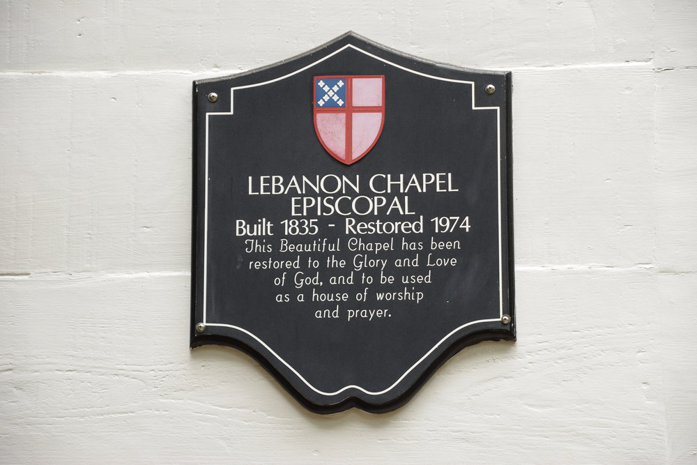 - Lebanon Chapel, Episcopal placard outside the chapel in Airlie Gardens, Wilmington, NC. Billy Beach Photography.