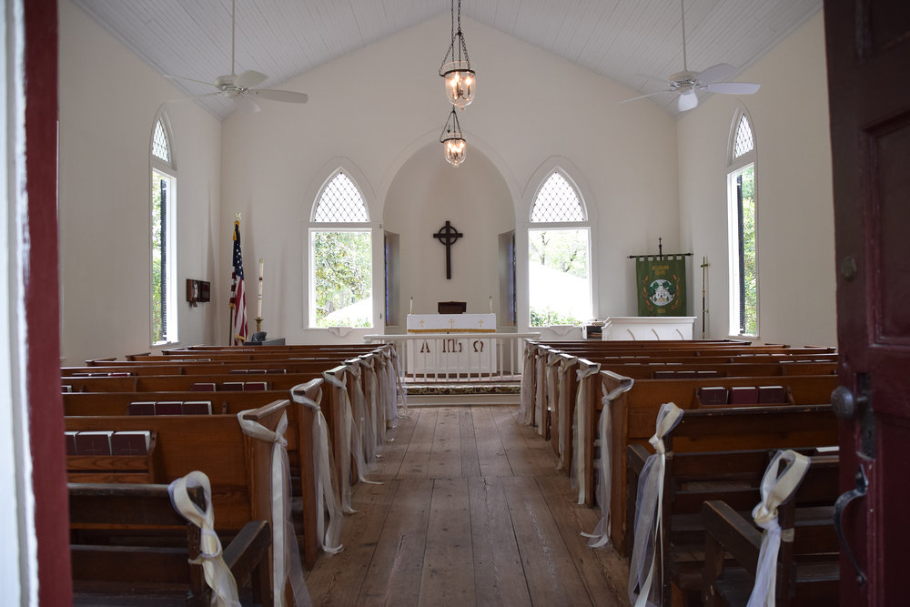 - Interior of Lebanon Chapel in Airlie Gardens in Wilmington, NC. Simple decorations is all you need. Billy Beach Photography.