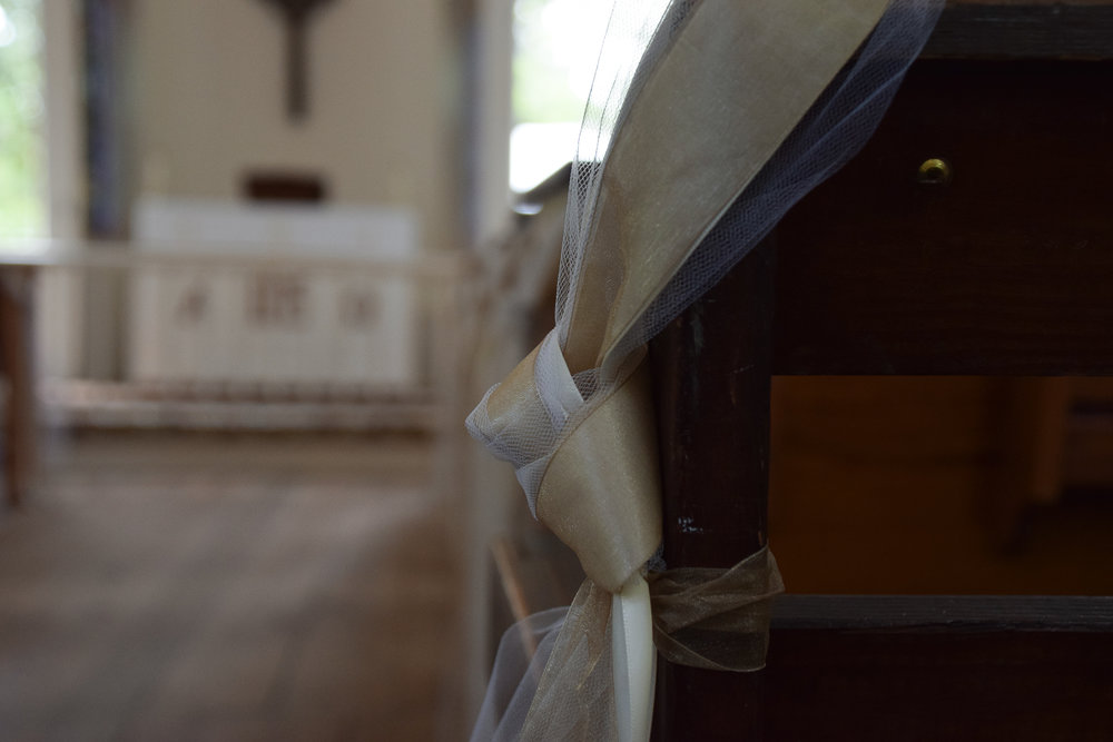 - Lebanon Chapel wedding decoration in Airlie Gardens, Wilmington, NC. Billy Beach Photography.