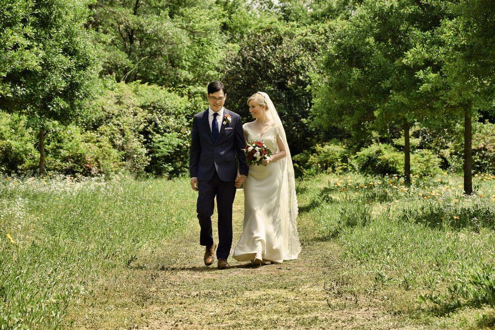 - The grounds around the Lebanon Chapel are breath taking. Bride and groom going for a walk after the ceremony. Airlie Gardens, Wilmington, NC. Billy Beach Photography.