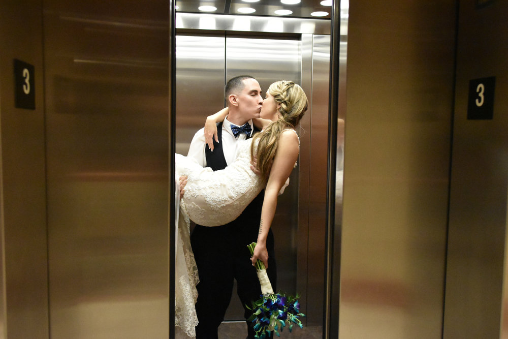 Elevator - End of the night, getting in the elevator and sharing a kiss. Terraces on Sir Tyler. Wilmington, NC.