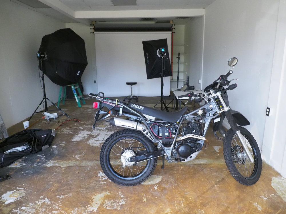 - Yes, that's a motorcycle we're working on. Plenty big enough for a little bit of everything. Not fancy, made for work.
