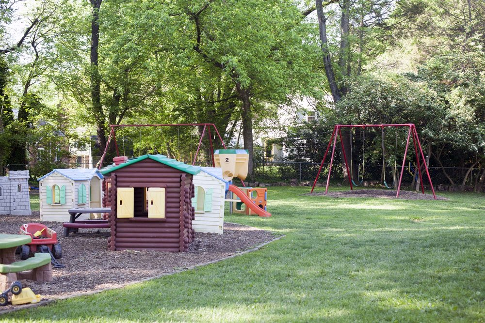 Part of the play area in the rear of the school