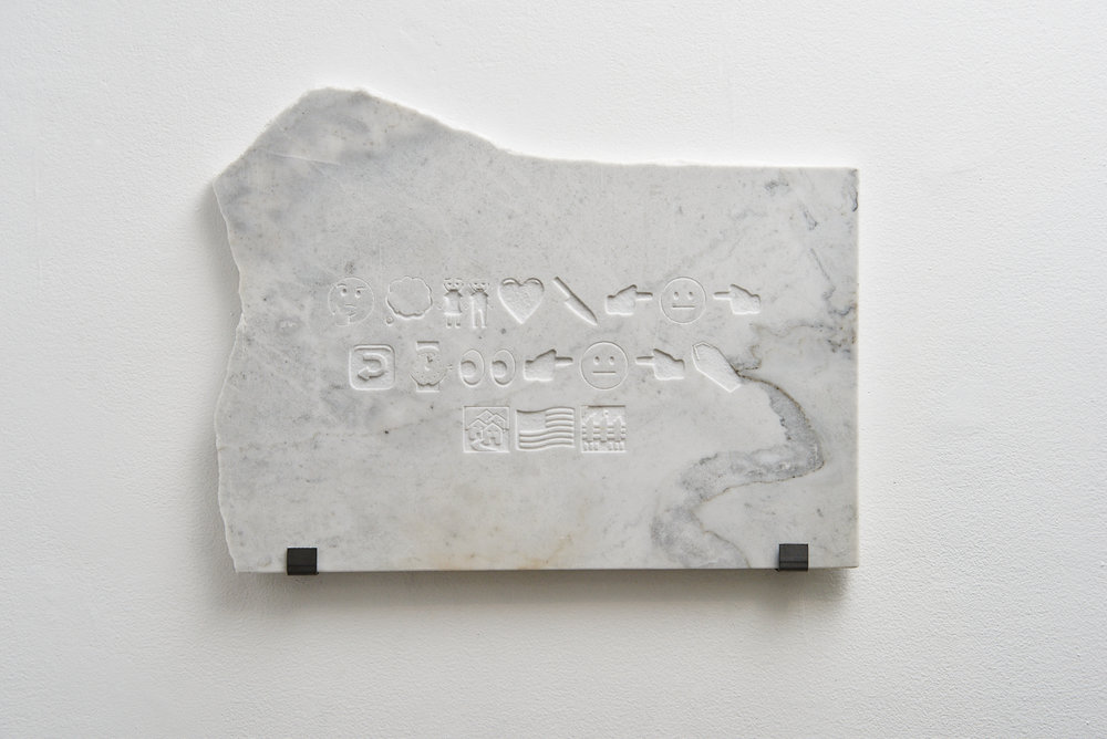 """I think I would like to kill you before seeing you murdered by the streets America built."" 2016, carrara marble."