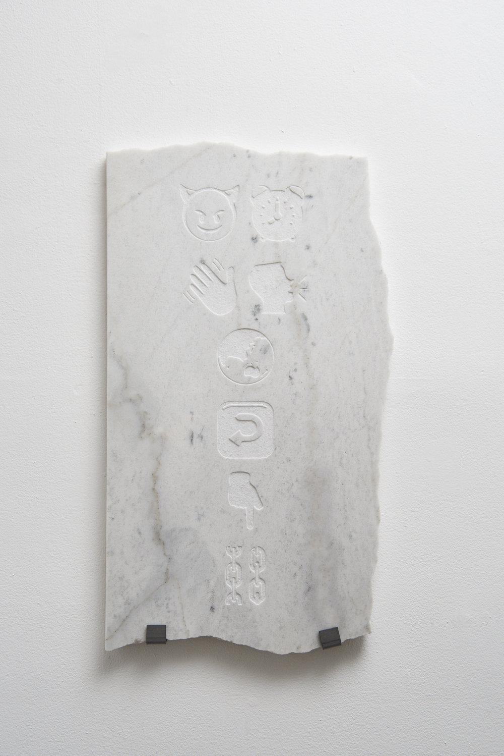 """Now the devil is calling the while world back into chains.""  2016, carrara marble."