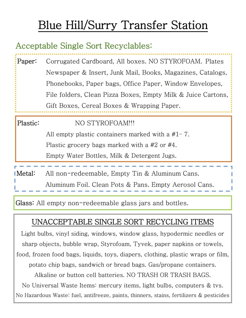 Transfer Station Recycling: Click to access flyer.
