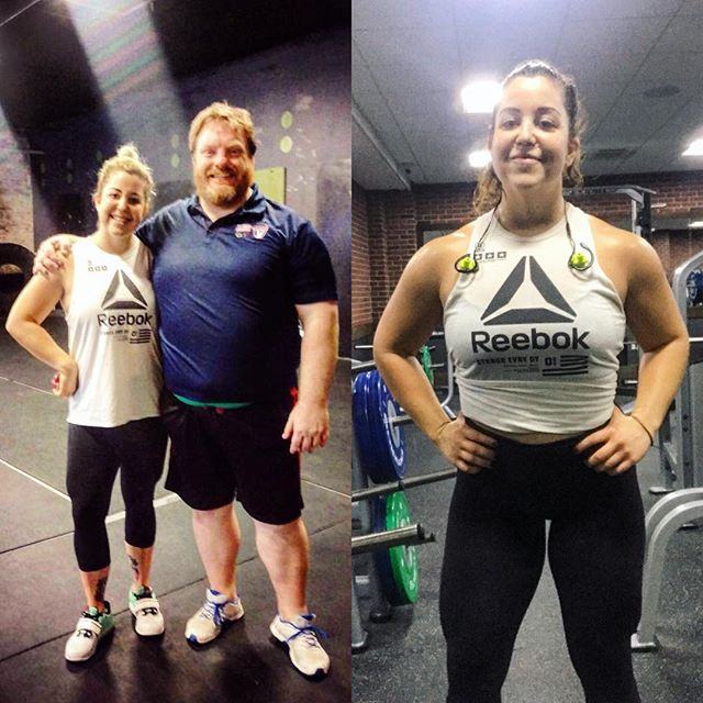 On the left, I'd just completed the (2016) USAW Sports Performance Coach training with Mike McKenna. On the right--this morning--I'd just completed my upper body hypertrophy workout.  # I'm in the same shirt, at the same weight in both photos. But I'm carrying myself a little differently these days. Maybe it has something to do with the muscle gain, but more likely it has to do with dedication to growth. A willingness to fail forward, to accept help and to refuse toxicity.  # I took that course because I'm obsessed with learning and I wanted to better fit within the fitness community I so admired--a community that I haven't always felt that I deserved to be a part of, as a coach, because of my weight fluctuations. But today, I workout because it's my creative expression, and because it satisfies my spirit like no one else's approval ever could. Again--like no one else's approval ever could.  #  Take the course though! Mike is great 🤗. And give yourself some love 💜