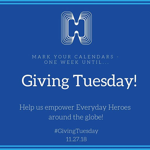 One week until #givingtuesday! With your support, we can empower even more heroes-in-training around the world! Mark your calendars and consider making a tax deductible gift to HIP this holiday season 🙏🏽💙bit.ly/donateHIP
