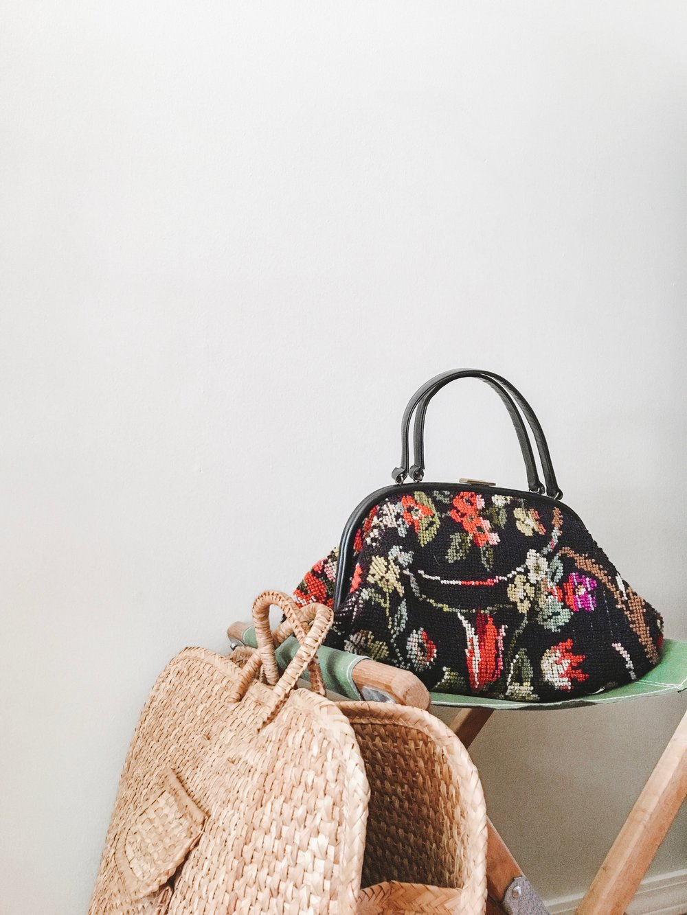 carpet bag and large wicker bag from  house of vintage