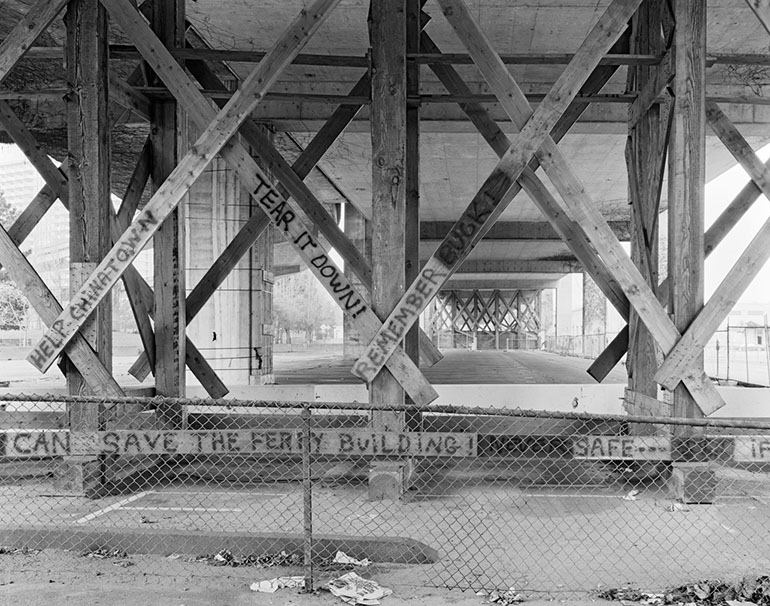 Tear it Down! Ferry Building Pedestrian Crossing. Embarcadero Freeway San Francisco, 1990