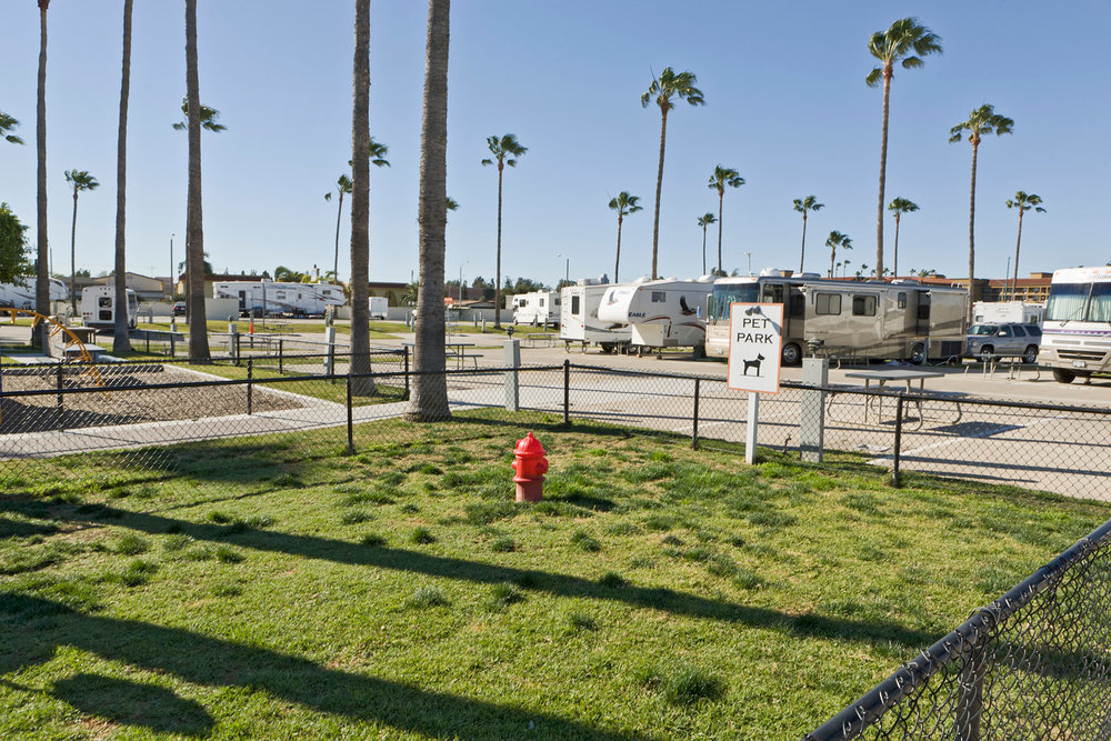 Pet Area. Anaheim Resort RV Park. CA
