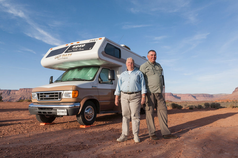 Don and Dorothy, Fulltimers. Outskirts of Canyonlands, UT