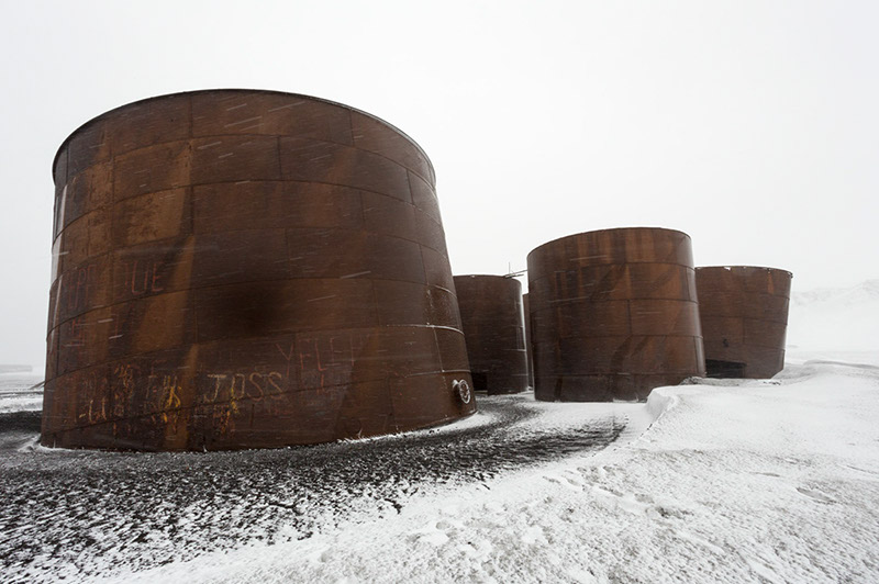 Whale Oil Holding Tanks. Deception Island, Antarctica