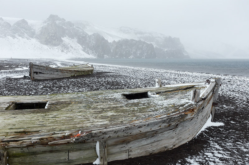 Beached Whaling Boats. Deception Island, Antarctica