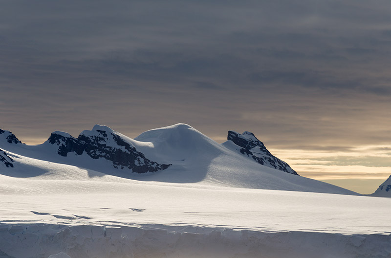 Evening Light on Glacier. Neko Bay, Antarctica