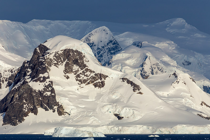 Evening Light on Peaks. Neko Harbor, Antarctica