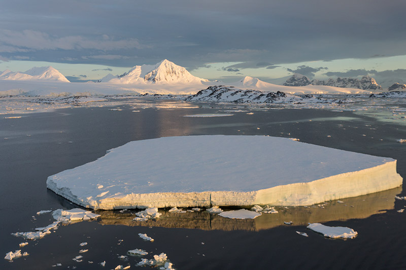 Sea Ice and Mount William. Anvers Island, Antarctica