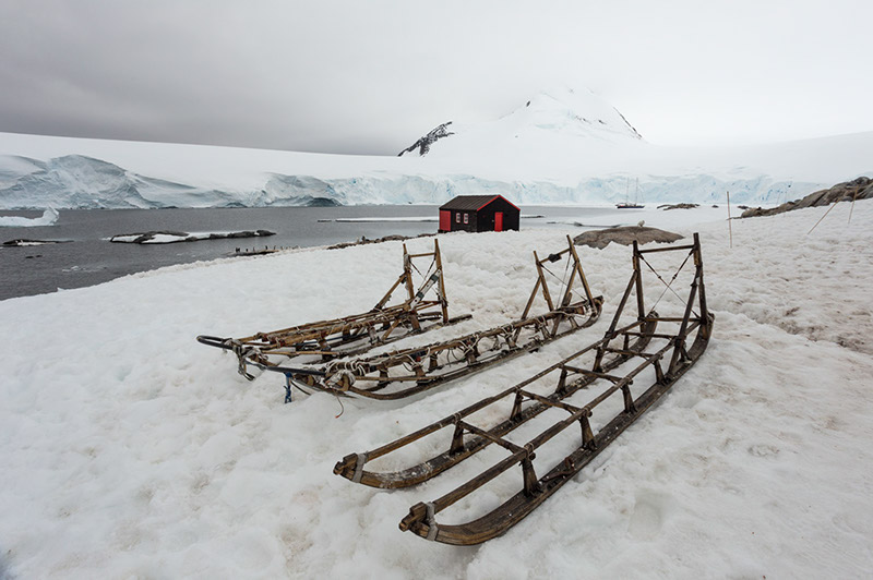 Historic Wooden Dog Sled. British Research Station, Port Lockroy, Antarctica