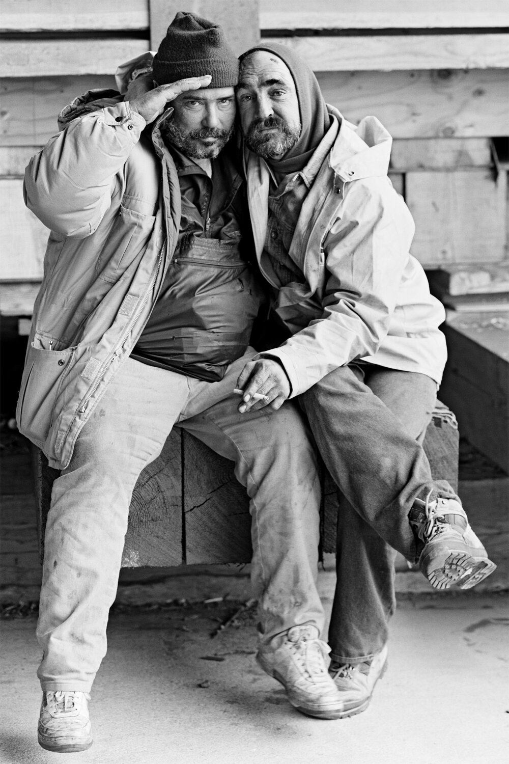 Norm and Sully. Embarcadero Freeway San Francisco, 1990