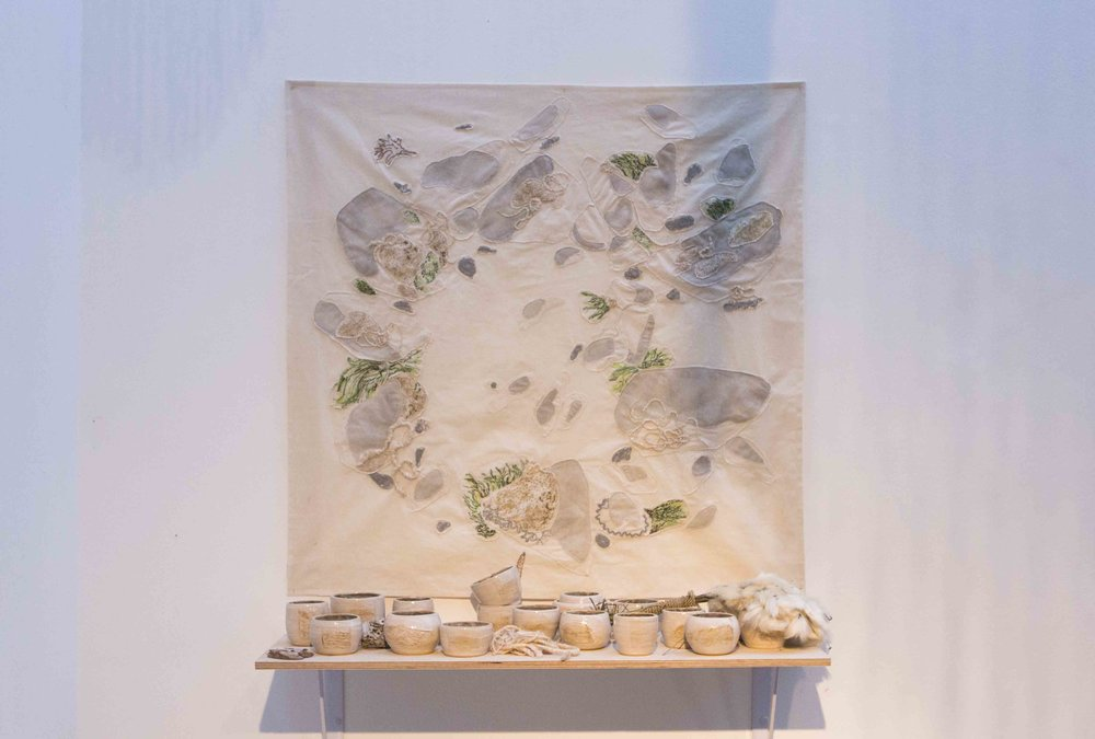 BIG MOUTHED BOYS SHALL NOT TAKE ME ON, Amy Leung,  2018. tapestry, cotton flower, tin thread, hand thrown ceramic cups