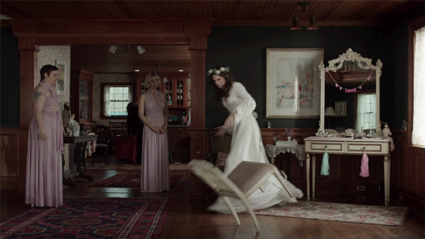 Marnie stomps out of the room in  Girls .Photo: Courtesy HBO