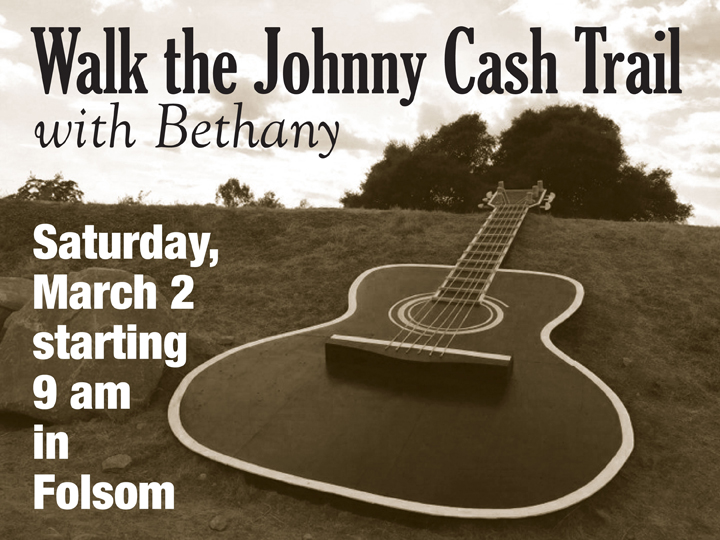 Walk Folsom's new  Johnny Cash Trail  with Bethany friends! A carpool from Bethany leaves at 8:15 a.m. Meet at starting point ( 200 Stafford Street , near the Folsom Zoo) at 9 a.m. We'll have cocoa, coffee and treats waiting for everyone after the walk! Your choice of distance: 5K or 10K. Celebrate the musical legacy of Johnny Cash while you enjoy God's great outdoors. Rain or shine! E-mail  cathy.bethpres@yah  oo.com  or call or text (916) 832-3373 if you have questions.  ___________________________________________________________________________________