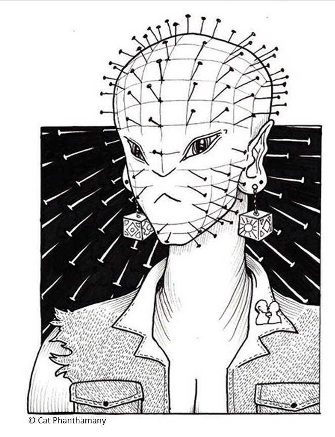 Above is an image Cat drew of me after we saw the first  Hellraiser.  We had only just begun dating and I confessed to her alot of my love for it. As a gift she chose to draw me as she saw me: punk, femme, tough, alien, cenobite.