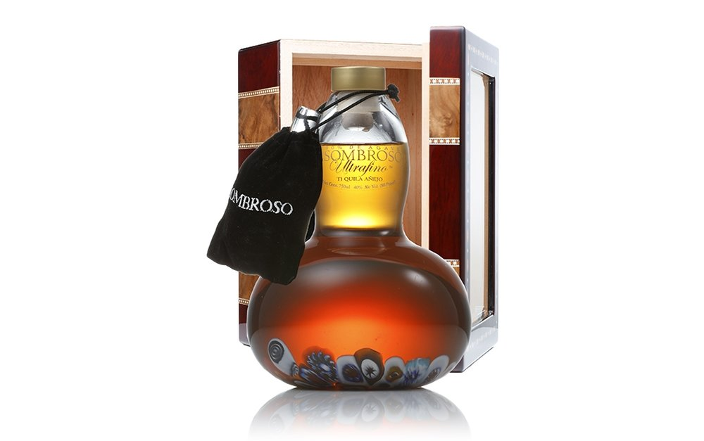 ASOMBROSO ULTRAFINO;  Collaboration is another groundbreaking masterpiece using our award-winning Vintage 11 Year Old Extra Añejo and Napa's esteemed Silver Oak Cellar's American casks. This luxurious tequila is the first of its kind. This has produced a one-of-a-kind super ultra-premium 11-year-old, double barrel-rested, Cabernet Sauvignon añejo. Housed in a crystal decanter handmade by Italian artist Luciano Gambaro, and displayed in a finely-polished humidor resting on a laser-engraved custom pedestal.   TASTING NOTES:  Distinct from any other tequila, with hints of vanilla, oak and butterscotch from the 11-year French oak-resting, and a bountiful kiss of fruit, boysenberries and fine-grained tannins from the Silver Oak barrel, which adorn the agave and culminate with a taste experience of pure pleasure.